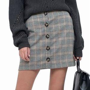 2272 Blu pepper Glen Plaid Button skirt